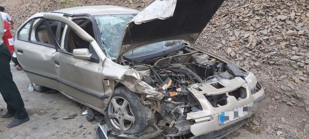 مصدومیت 5 نفر در تصادف محور کرج - چالوس